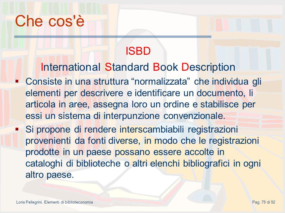 Che cos è ISBD International Standard Book Description