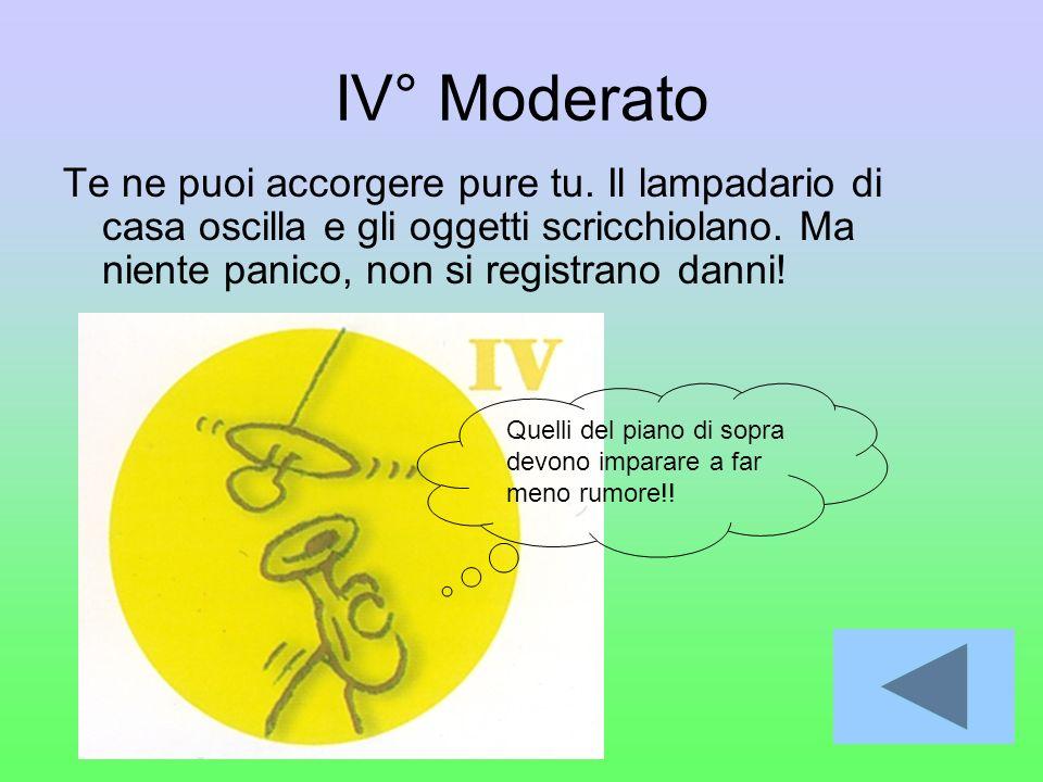 IV° Moderato Te ne puoi accorgere pure tu. Il lampadario di casa oscilla e gli oggetti scricchiolano. Ma niente panico, non si registrano danni!