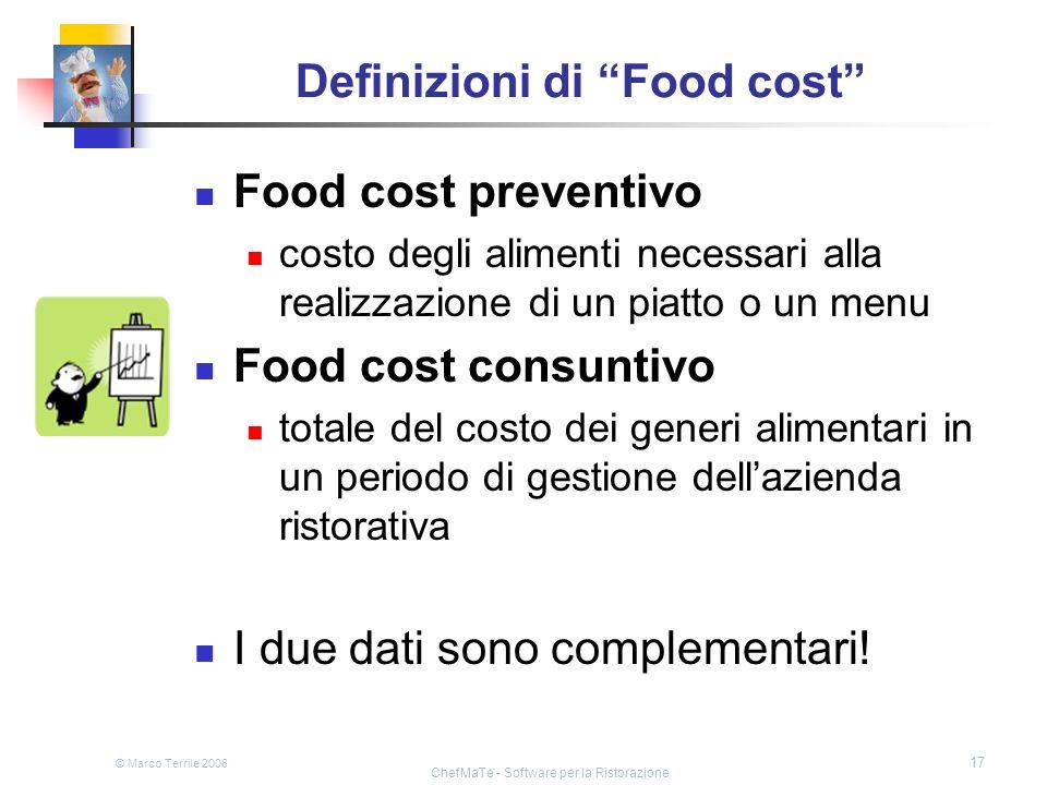 Definizioni di Food cost