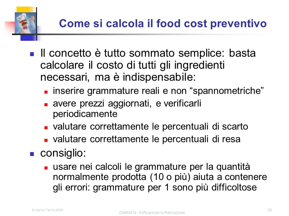 Come si calcola il food cost preventivo