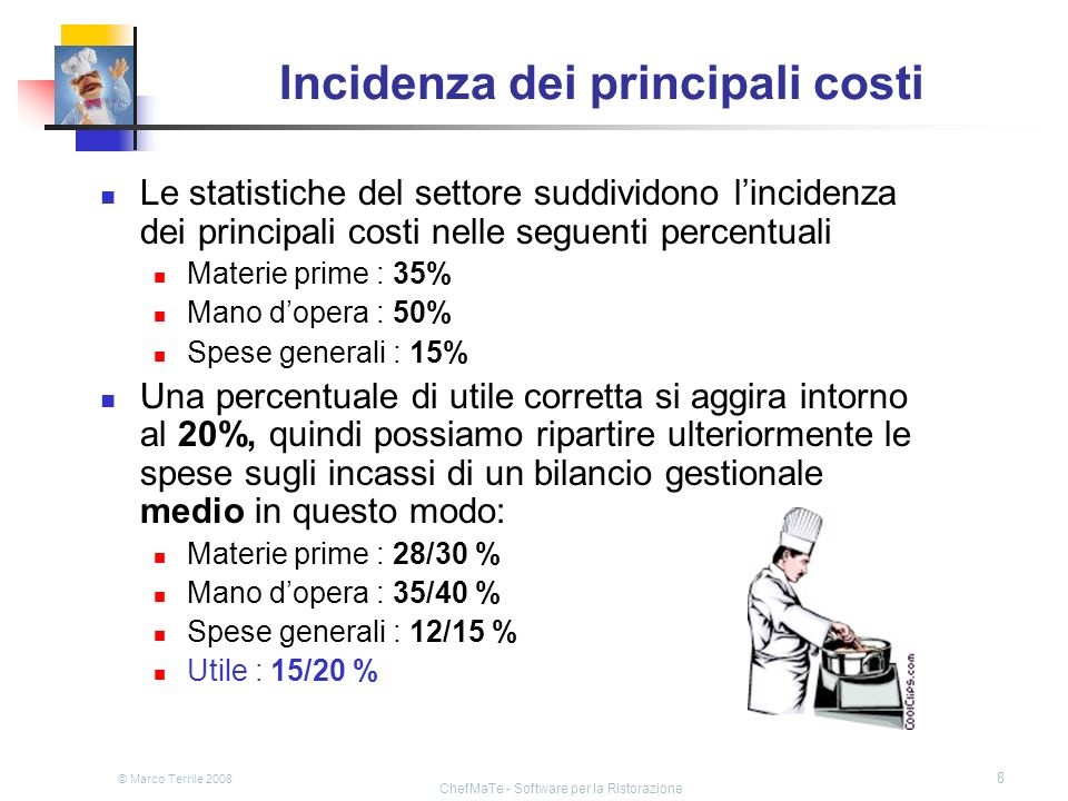 Incidenza dei principali costi