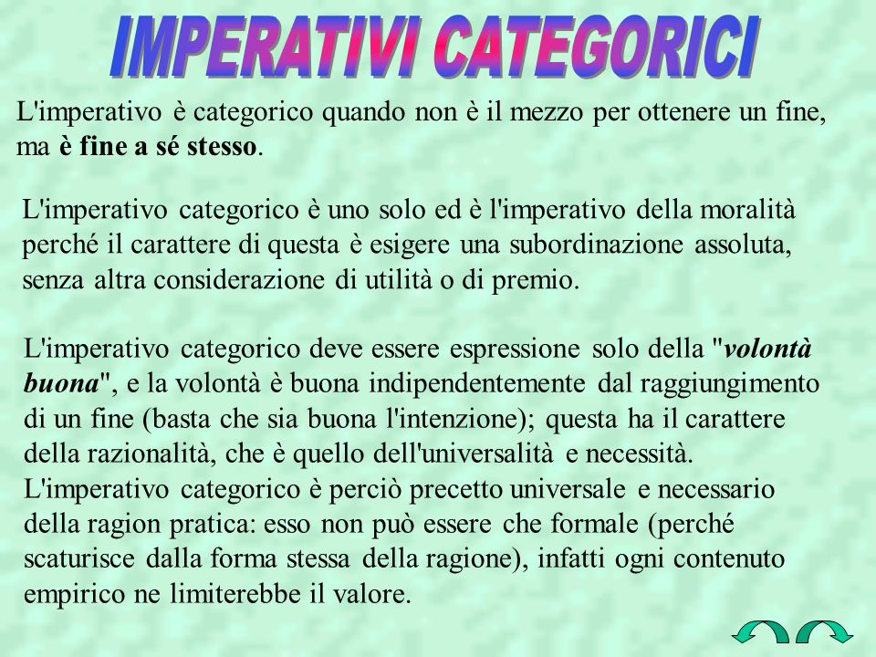 IMPERATIVI CATEGORICI