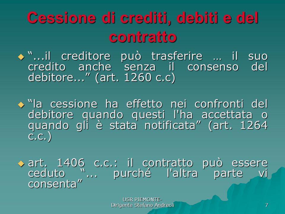 Cessione di crediti, debiti e del contratto