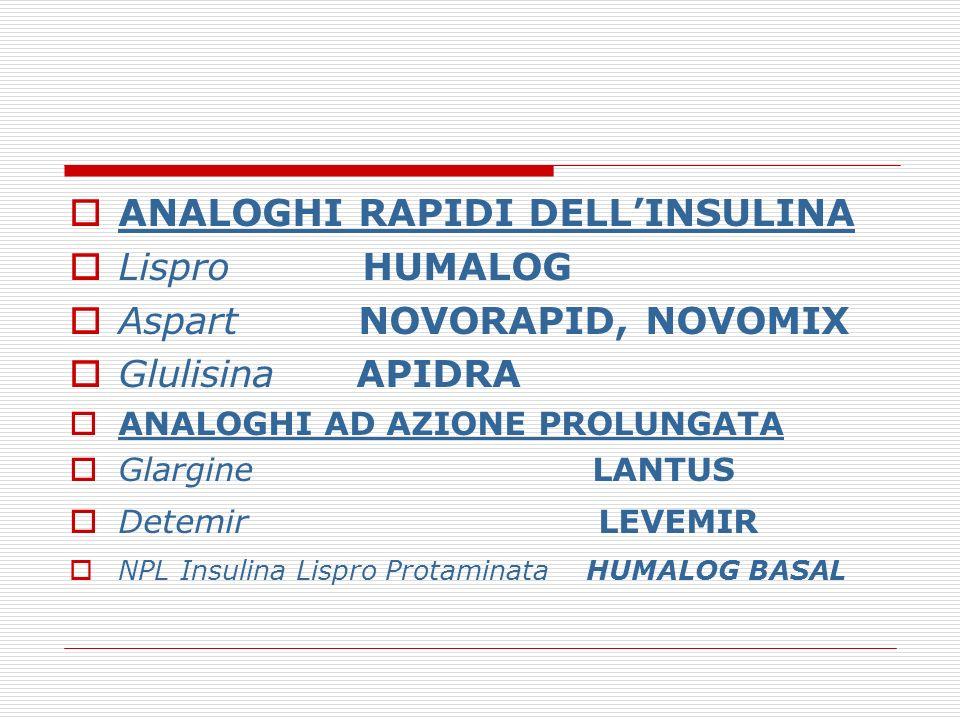 ANALOGHI RAPIDI DELL'INSULINA Lispro HUMALOG Aspart NOVORAPID, NOVOMIX