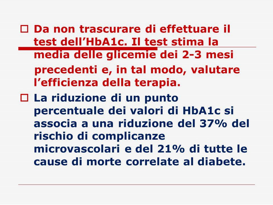 Da non trascurare di effettuare il test dell'HbA1c