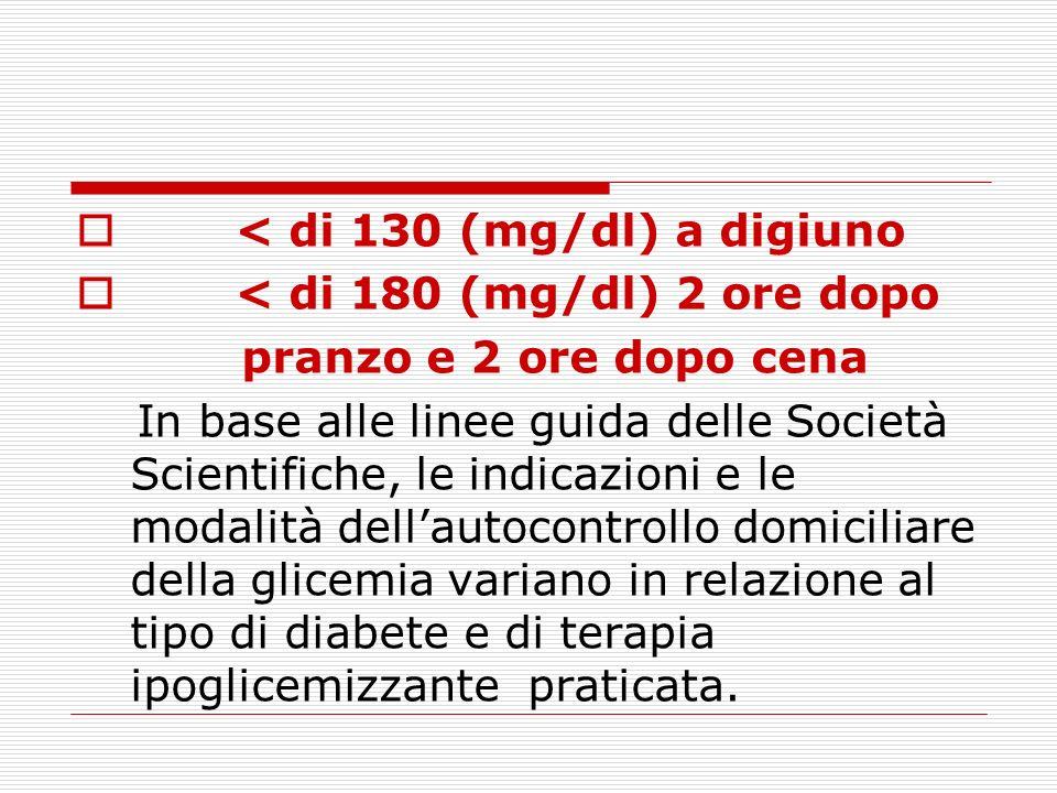 < di 130 (mg/dl) a digiuno