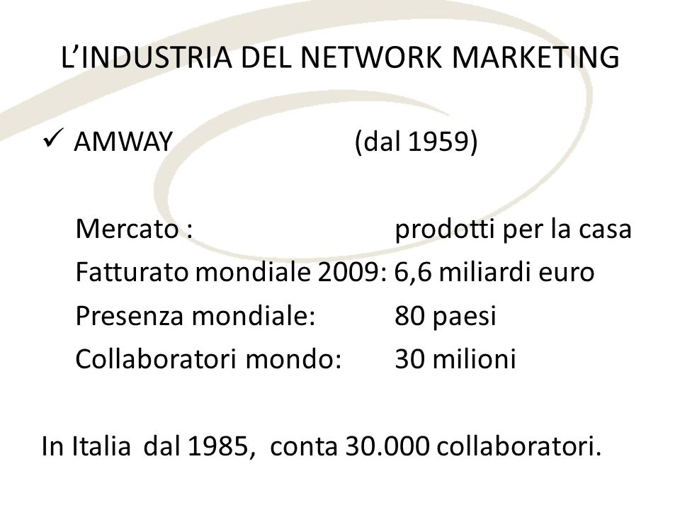 L'INDUSTRIA DEL NETWORK MARKETING