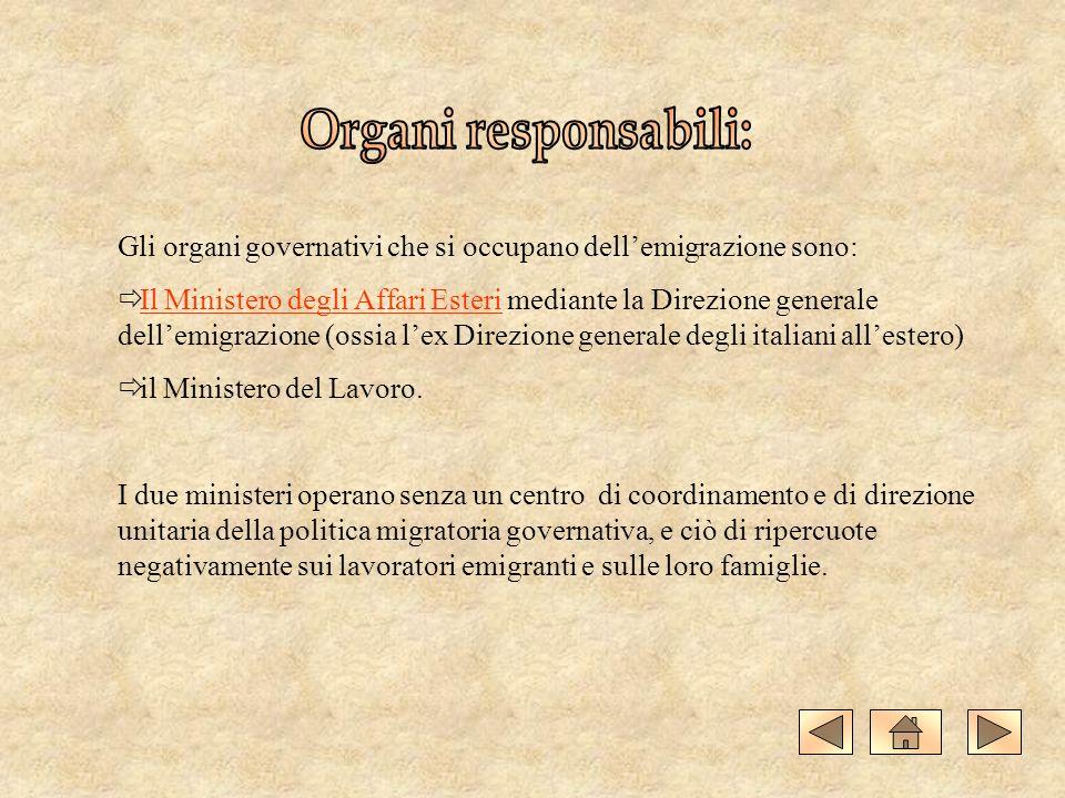Organi responsabili: Gli organi governativi che si occupano dell'emigrazione sono: