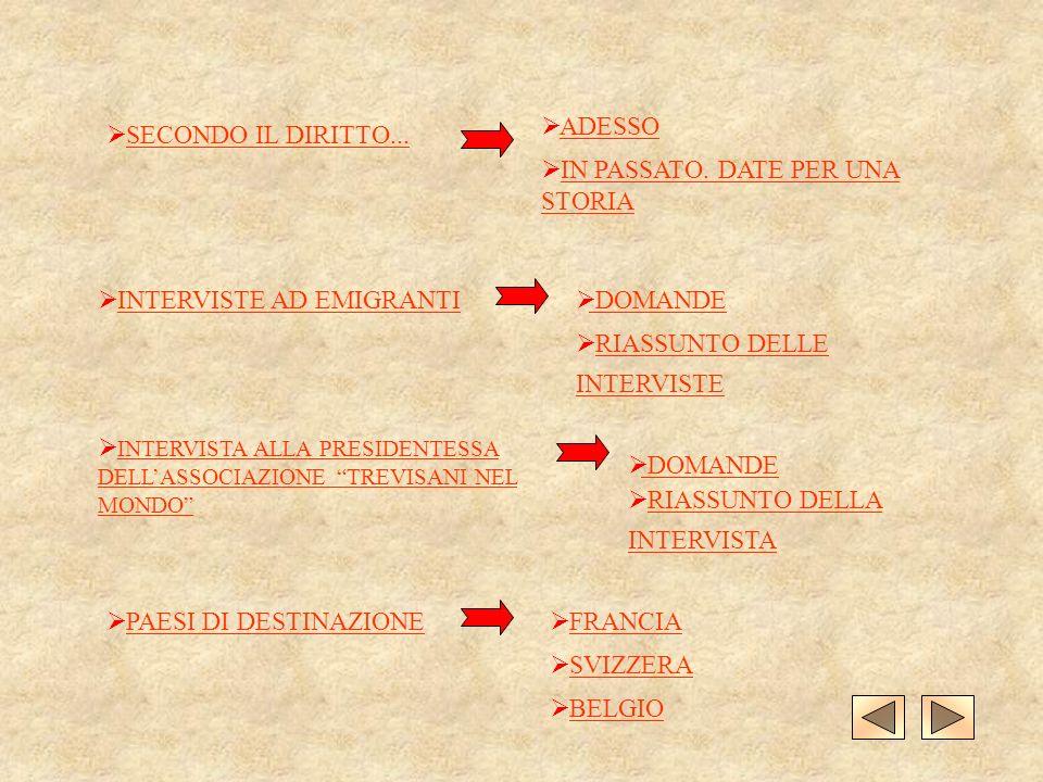 ADESSO SECONDO IL DIRITTO... IN PASSATO. DATE PER UNA STORIA. INTERVISTE AD EMIGRANTI. DOMANDE. RIASSUNTO DELLE INTERVISTE.