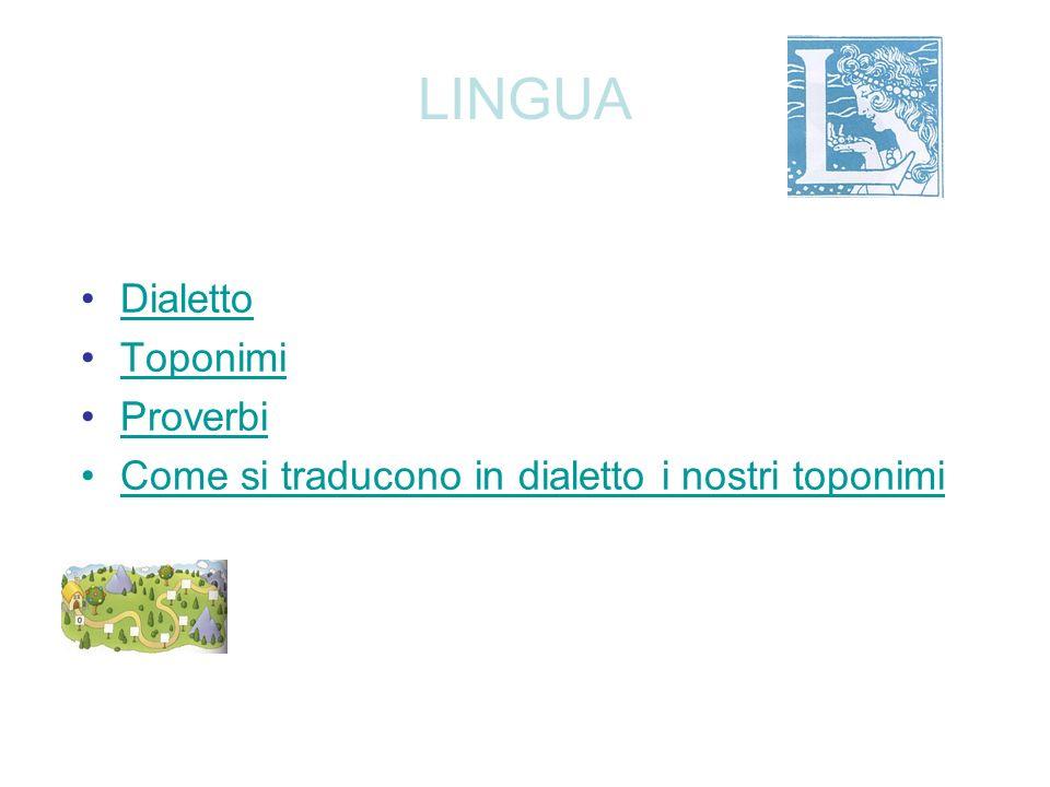 LINGUA Dialetto Toponimi Proverbi