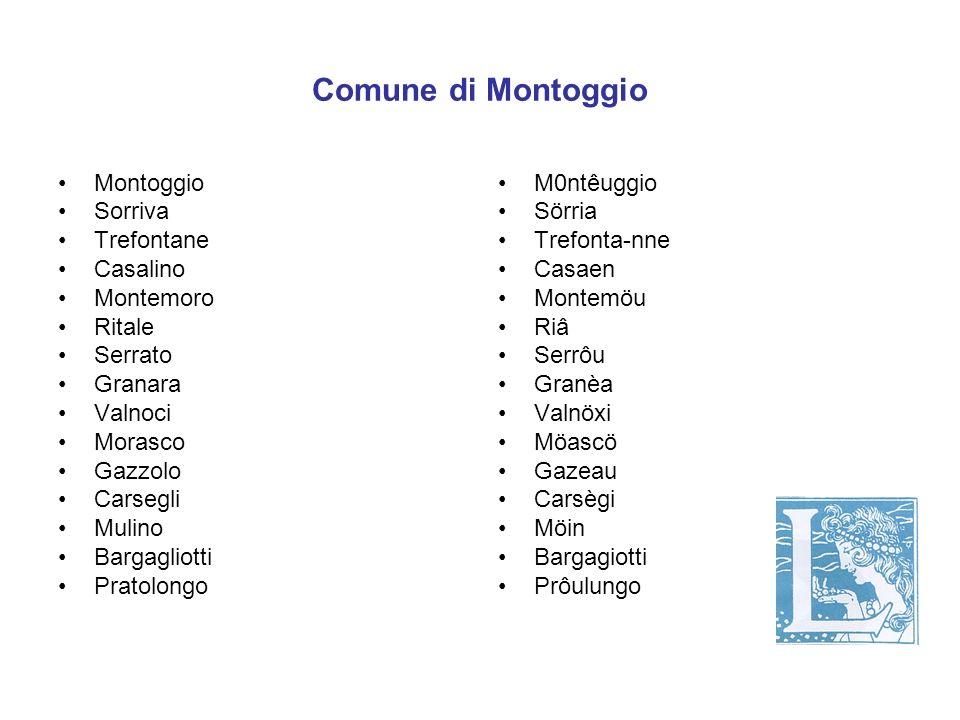 Comune di Montoggio Montoggio Sorriva Trefontane Casalino Montemoro