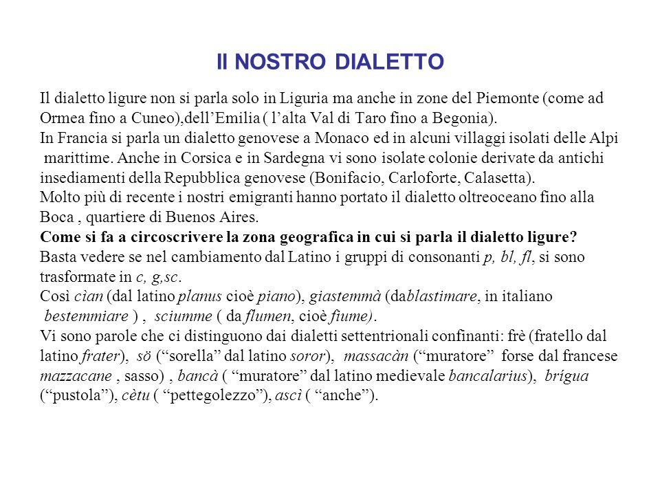 Il NOSTRO DIALETTO Il dialetto ligure non si parla solo in Liguria ma anche in zone del Piemonte (come ad.
