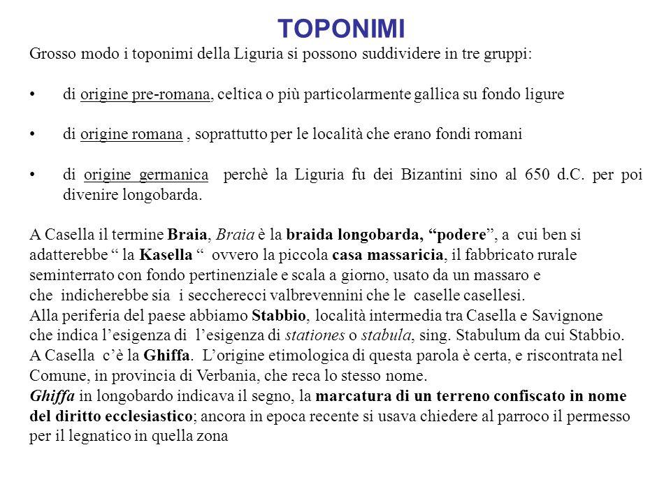 TOPONIMIGrosso modo i toponimi della Liguria si possono suddividere in tre gruppi: