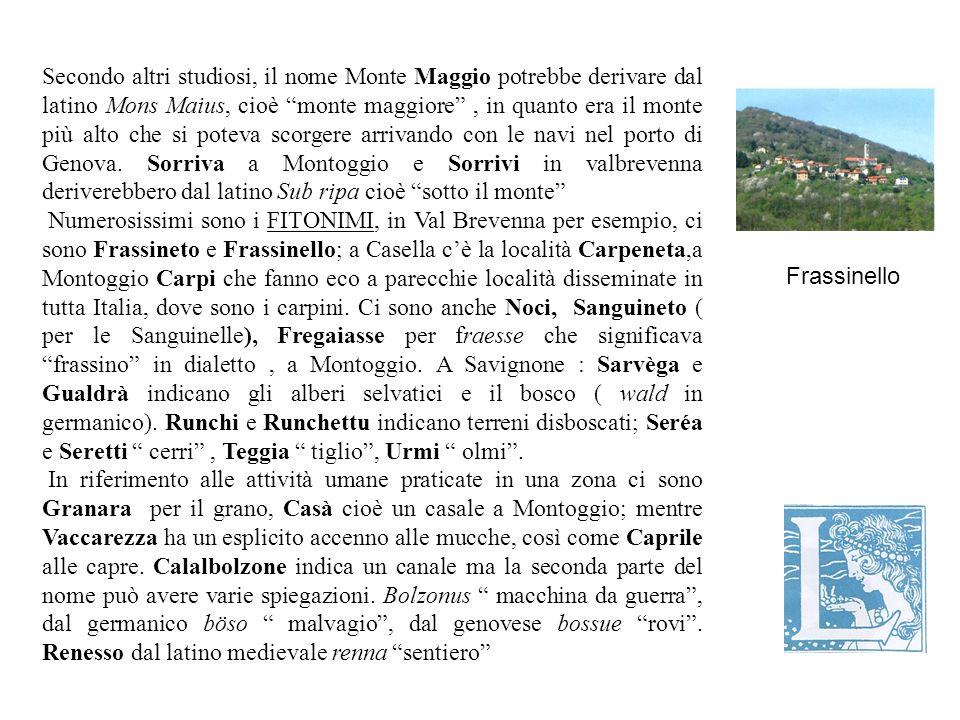 Secondo altri studiosi, il nome Monte Maggio potrebbe derivare dal latino Mons Maius, cioè monte maggiore , in quanto era il monte più alto che si poteva scorgere arrivando con le navi nel porto di Genova. Sorriva a Montoggio e Sorrivi in valbrevenna deriverebbero dal latino Sub ripa cioè sotto il monte