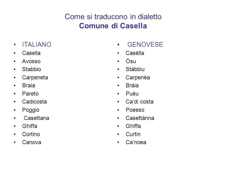 Come si traducono in dialetto Comune di Casella