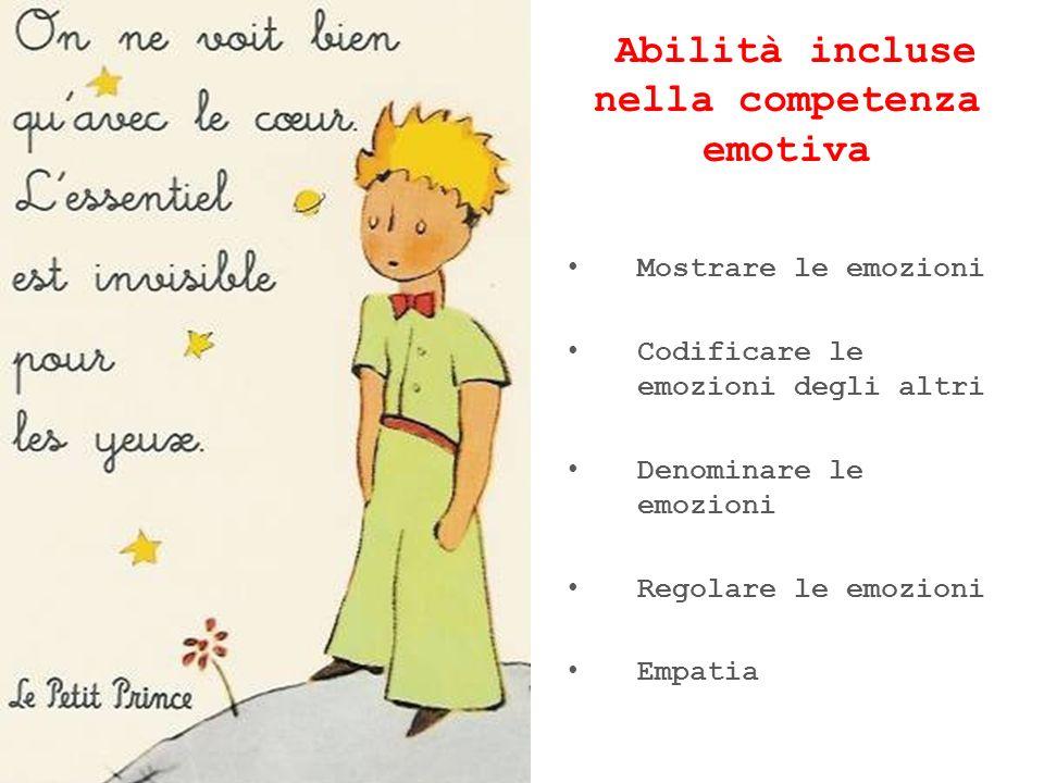 Abilità incluse nella competenza emotiva Mostrare le emozioni