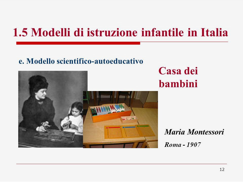 1.5 Modelli di istruzione infantile in Italia