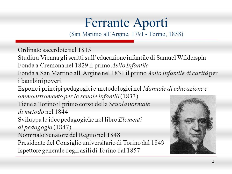 Ferrante Aporti (San Martino all'Argine, 1791 - Torino, 1858)