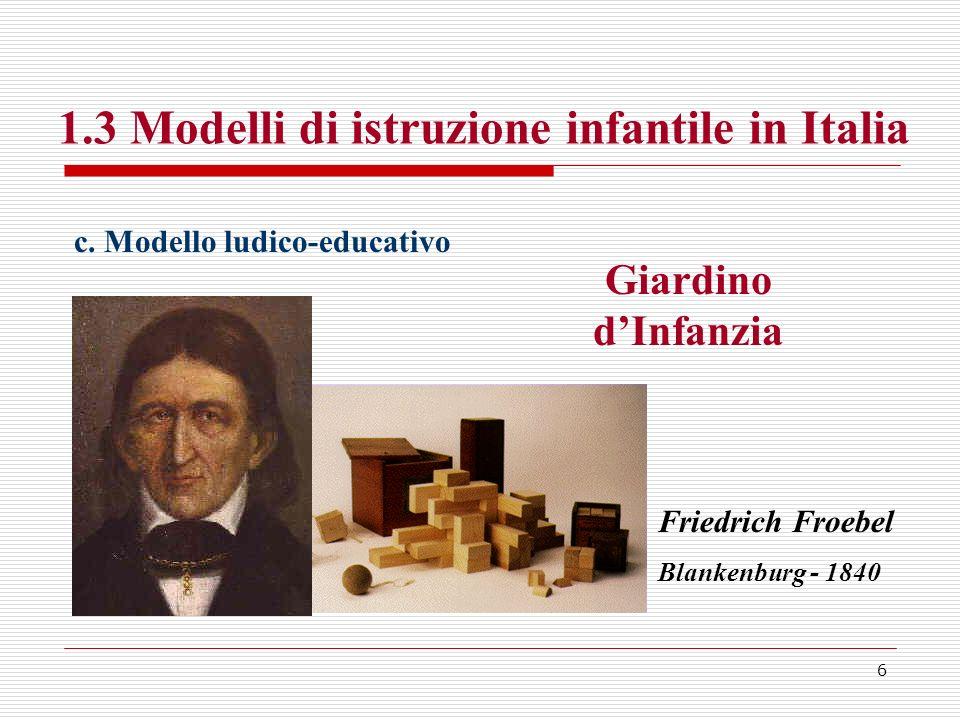 1.3 Modelli di istruzione infantile in Italia