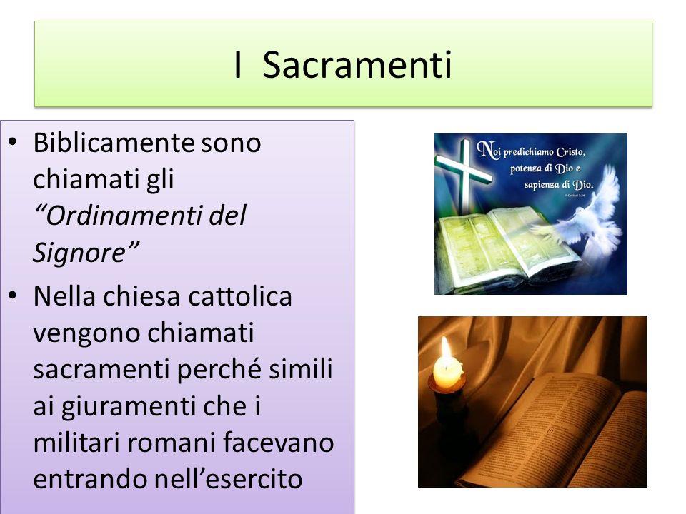 I Sacramenti Biblicamente sono chiamati gli Ordinamenti del Signore