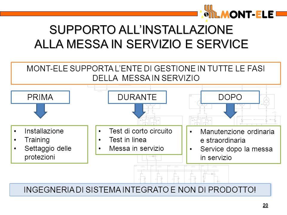 SUPPORTO ALL'INSTALLAZIONE ALLA MESSA IN SERVIZIO E SERVICE