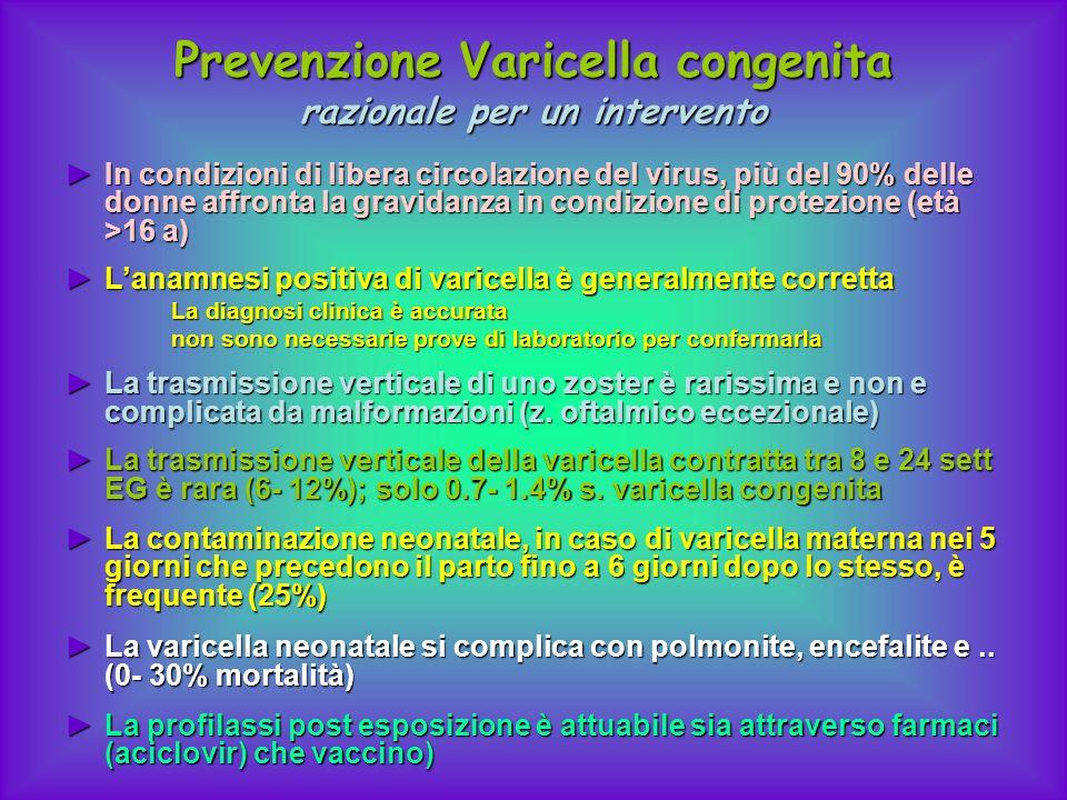 Prevenzione Varicella congenita razionale per un intervento