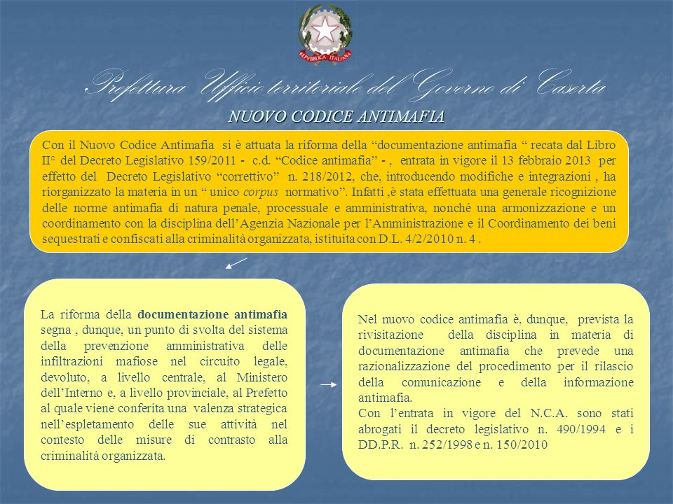 Prefettura Ufficio territoriale del Governo di Caserta NUOVO CODICE ANTIMAFIA
