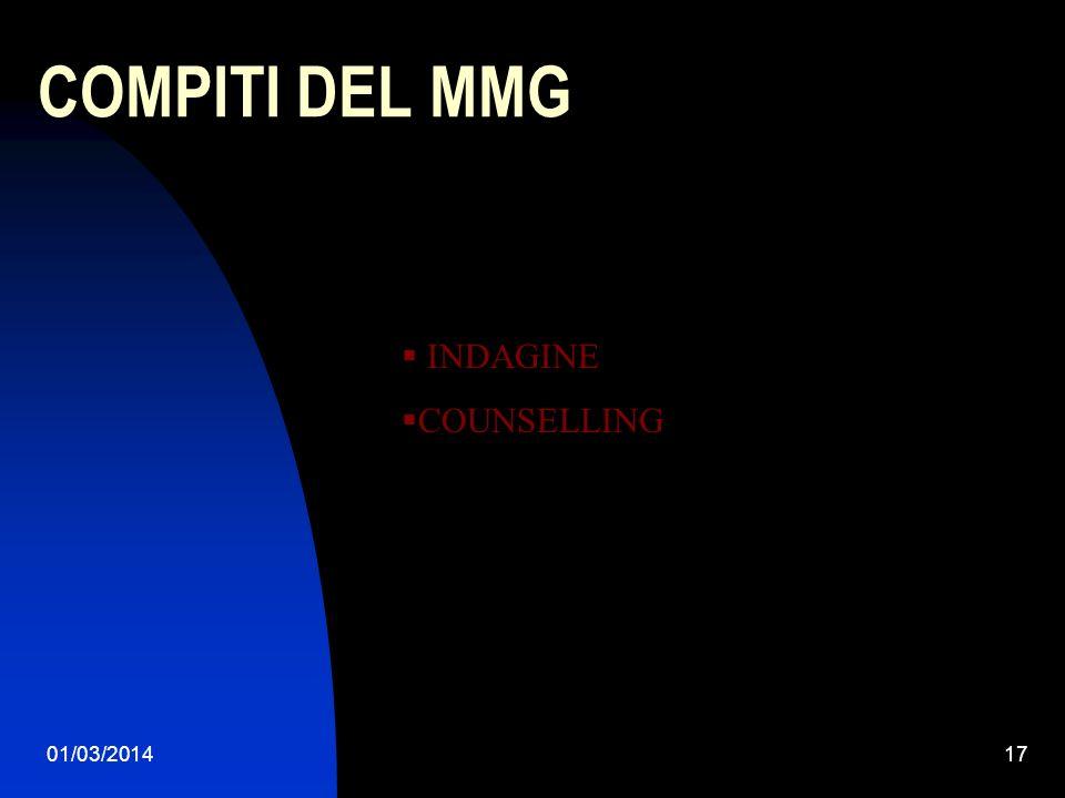 COMPITI DEL MMG INDAGINE COUNSELLING 28/03/2017