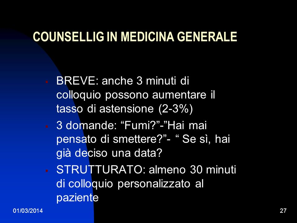 COUNSELLIG IN MEDICINA GENERALE