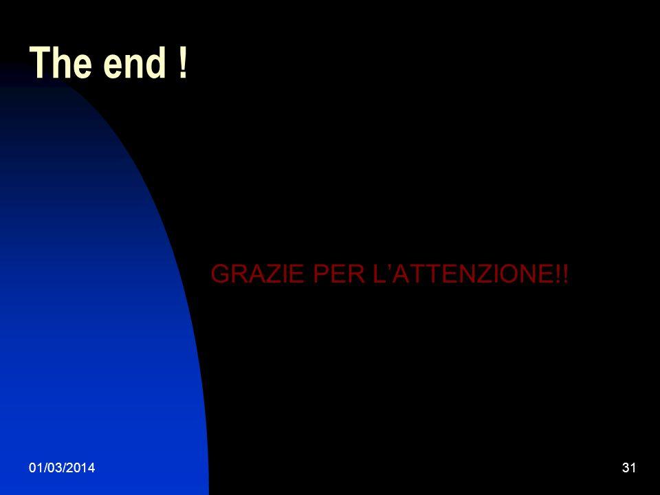 The end ! GRAZIE PER L'ATTENZIONE!! 28/03/2017