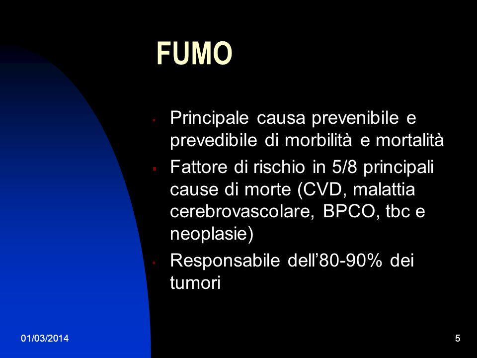FUMO Principale causa prevenibile e prevedibile di morbilità e mortalità.