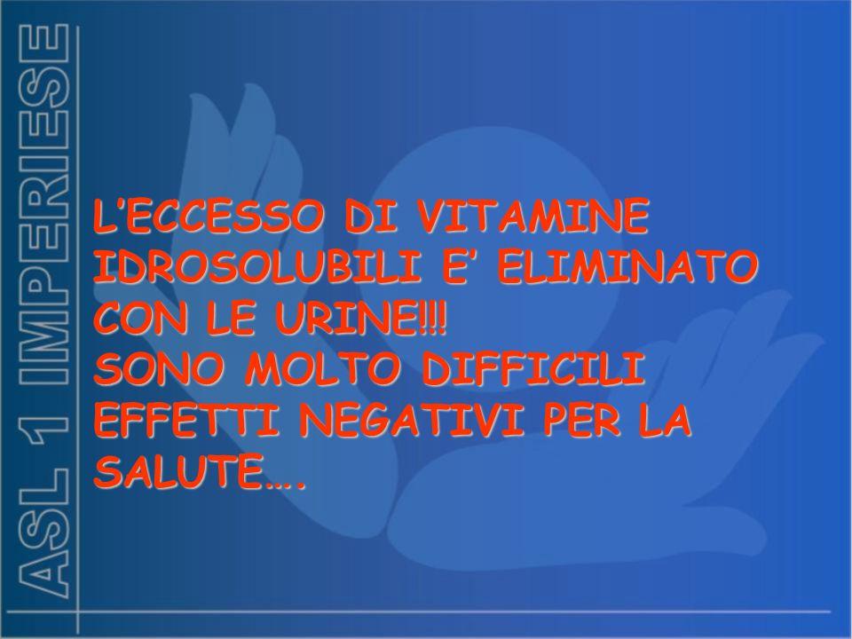 L'ECCESSO DI VITAMINE IDROSOLUBILI E' ELIMINATO CON LE URINE!!!