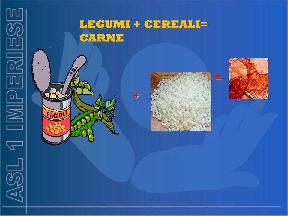 LEGUMI + CEREALI= CARNE