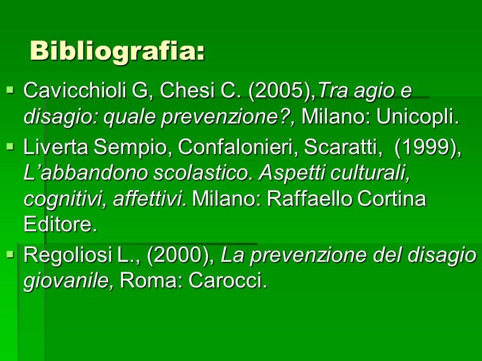 Bibliografia: Cavicchioli G, Chesi C. (2005),Tra agio e disagio: quale prevenzione , Milano: Unicopli.