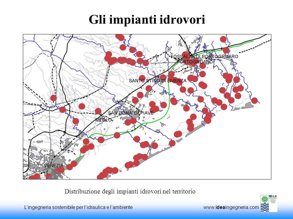 Distribuzione degli impianti idrovori nel territorio