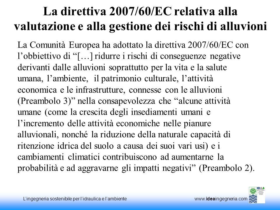La direttiva 2007/60/EC relativa alla valutazione e alla gestione dei rischi di alluvioni