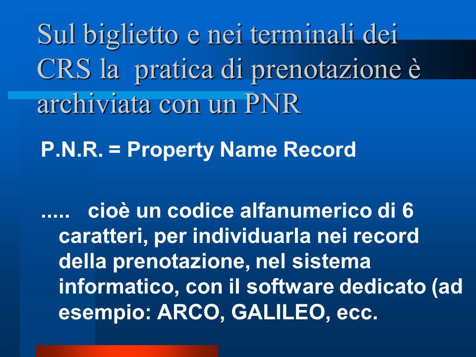 Sul biglietto e nei terminali dei CRS la pratica di prenotazione è archiviata con un PNR