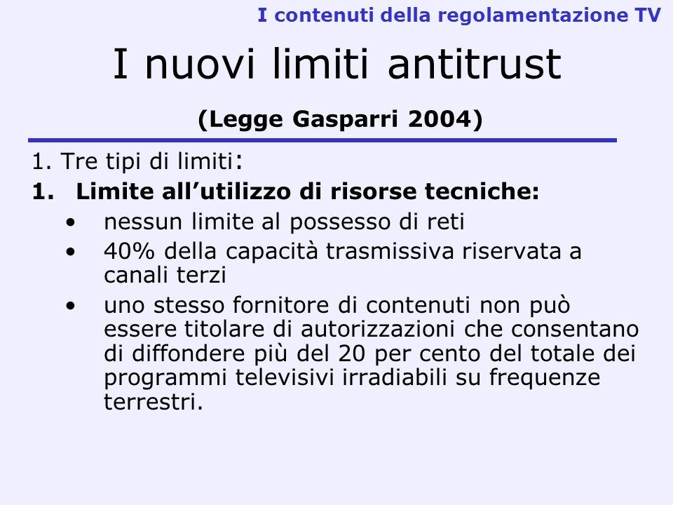 I nuovi limiti antitrust (Legge Gasparri 2004)