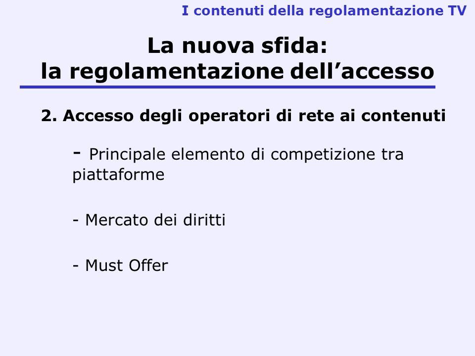 La nuova sfida: la regolamentazione dell'accesso