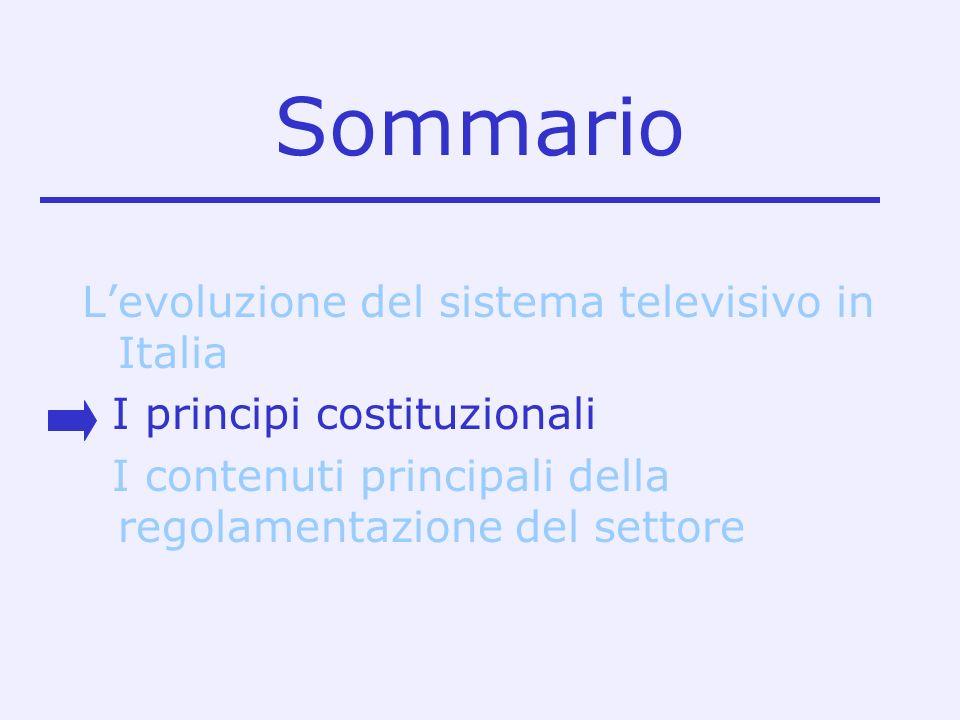 Sommario L'evoluzione del sistema televisivo in Italia