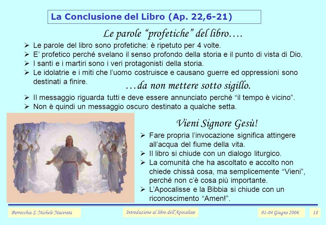 Le parole profetiche del libro….