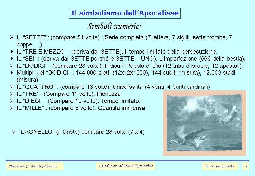 Simboli numerici Il simbolismo dell'Apocalisse