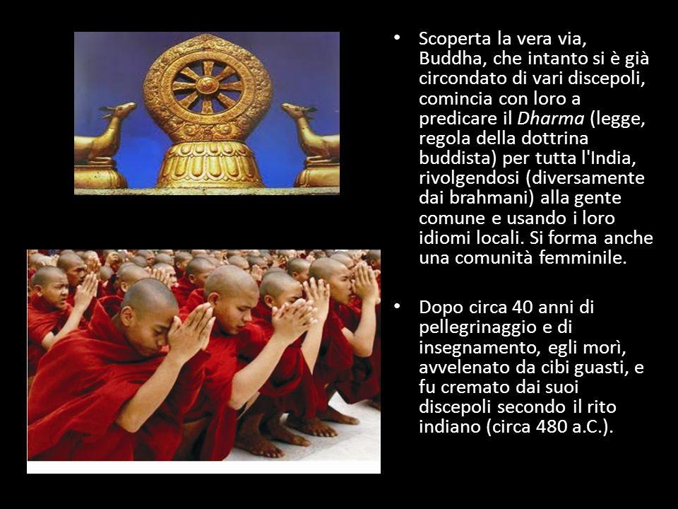 Scoperta la vera via, Buddha, che intanto si è già circondato di vari discepoli, comincia con loro a predicare il Dharma (legge, regola della dottrina buddista) per tutta l India, rivolgendosi (diversamente dai brahmani) alla gente comune e usando i loro idiomi locali. Si forma anche una comunità femminile.