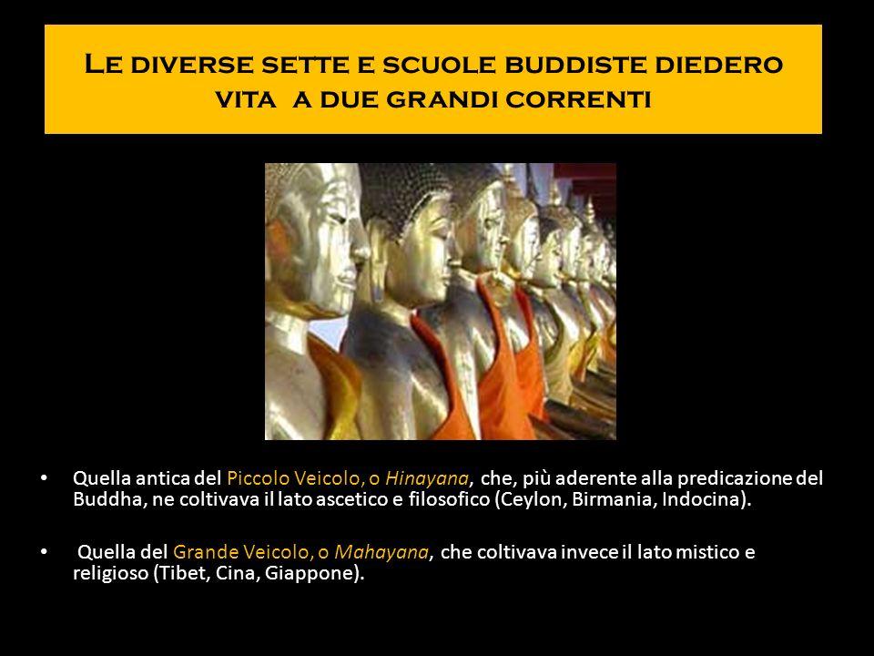 Le diverse sette e scuole buddiste diedero vita a due grandi correnti