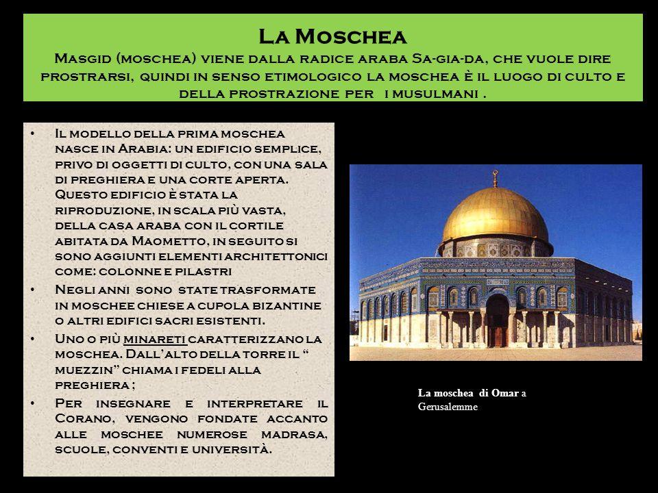 La Moschea Masgid (moschea) viene dalla radice araba Sa-gia-da, che vuole dire prostrarsi, quindi in senso etimologico la moschea è il luogo di culto e della prostrazione per i musulmani .