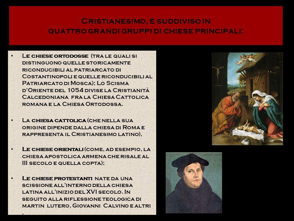Cristianesimo, è suddiviso in quattro grandi gruppi di chiese principali: