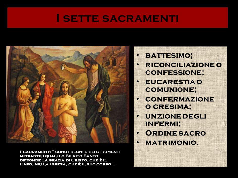 I sette sacramenti battesimo; riconciliazione o confessione;