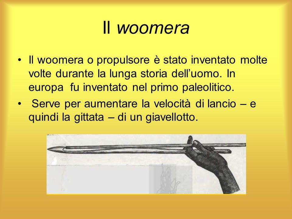 Il woomera Il woomera o propulsore è stato inventato molte volte durante la lunga storia dell'uomo. In europa fu inventato nel primo paleolitico.