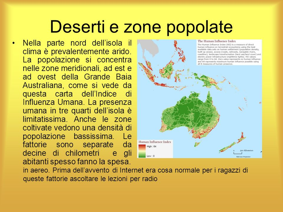 Deserti e zone popolate