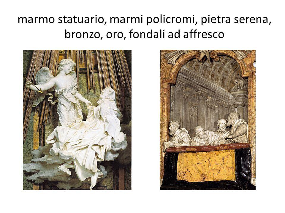 marmo statuario, marmi policromi, pietra serena, bronzo, oro, fondali ad affresco